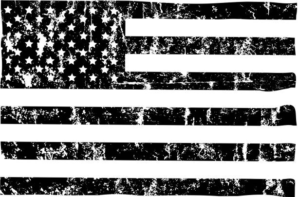 ggrungy american flag mockup,black and white, stars and stripes, vector grungy american flag mockup,black and white, stars and stripes, vector distressed american flag stock illustrations