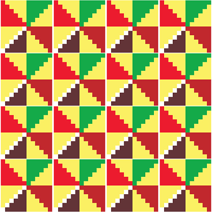Ghana African tribal Kente cloth style vector seamless textile pattern, geometric nwentoma design in yellow, red, brown and green