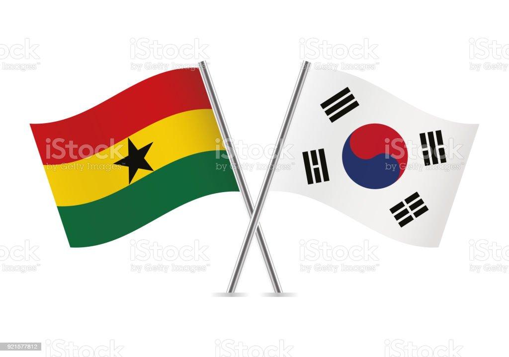 Banderas de Ghana y Corea del sur. Ilustración de vector. - ilustración de arte vectorial
