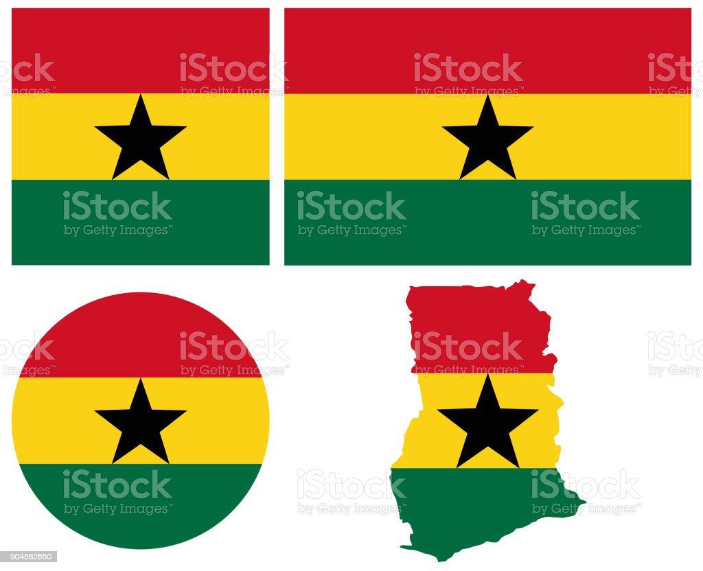 Mapa y bandera de Ghana - ilustración de arte vectorial