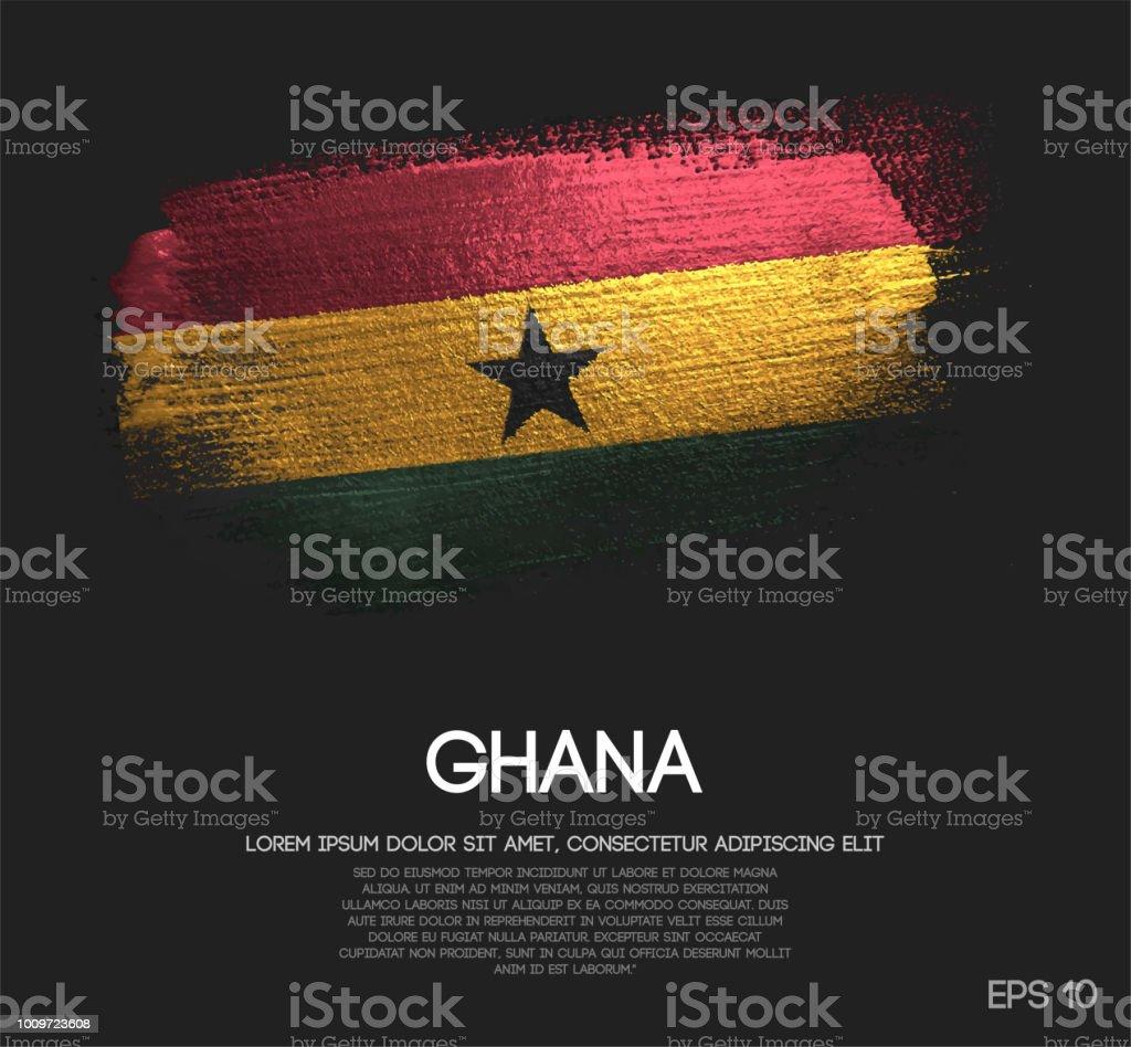 Bandera de Ghana de brillo brillo brocha Pintura vectorial - ilustración de arte vectorial