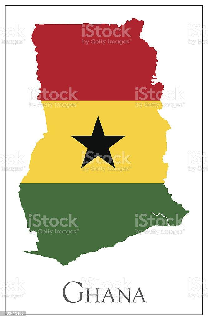Mapa bandera de Ghana - ilustración de arte vectorial