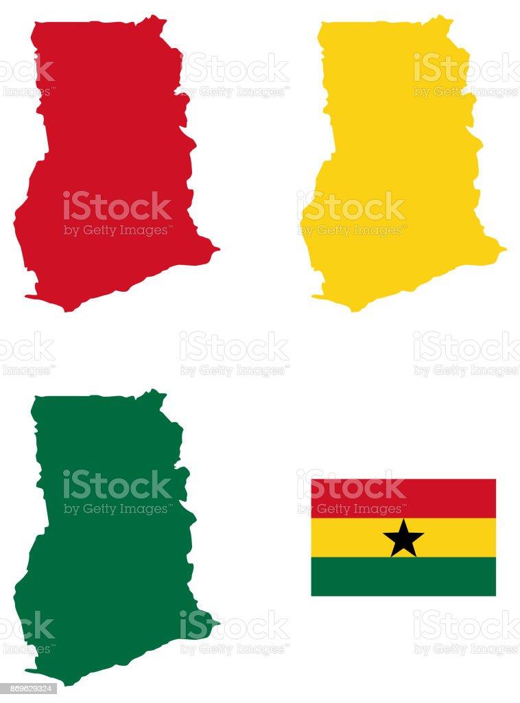 Bandera y mapa de Ghana - ilustración de arte vectorial