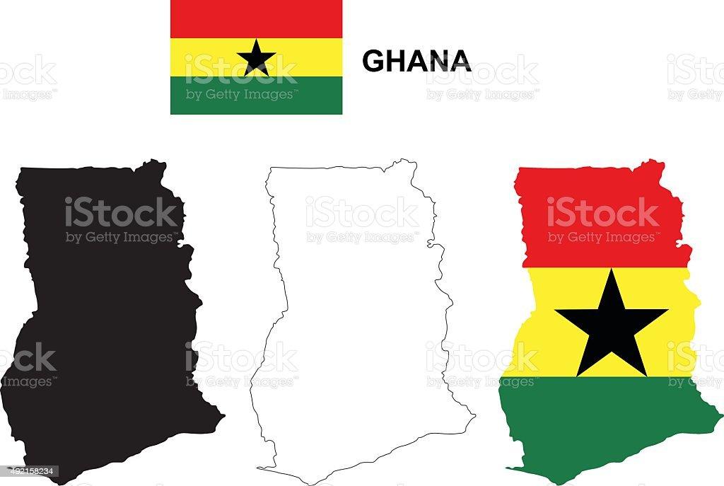 Ghana Mapa del vector, Ghana bandera de Ghana vectorial, aislado - ilustración de arte vectorial