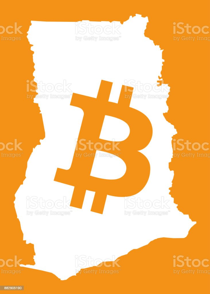 Ghana Map With Bitcoin Crypto Currency Symbol Illustration Stock