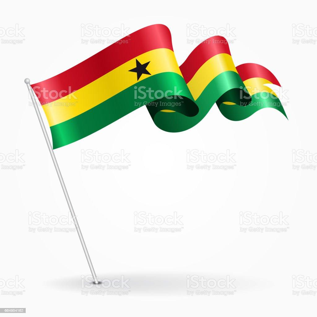 Bandera ondulada del pin de Ghana. Ilustración de vector. - ilustración de arte vectorial
