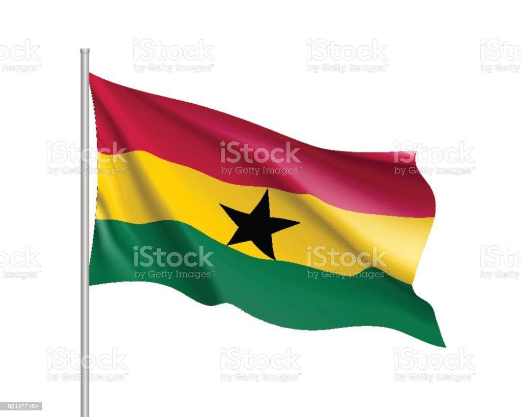 Bandera realista de Ghana - ilustración de arte vectorial