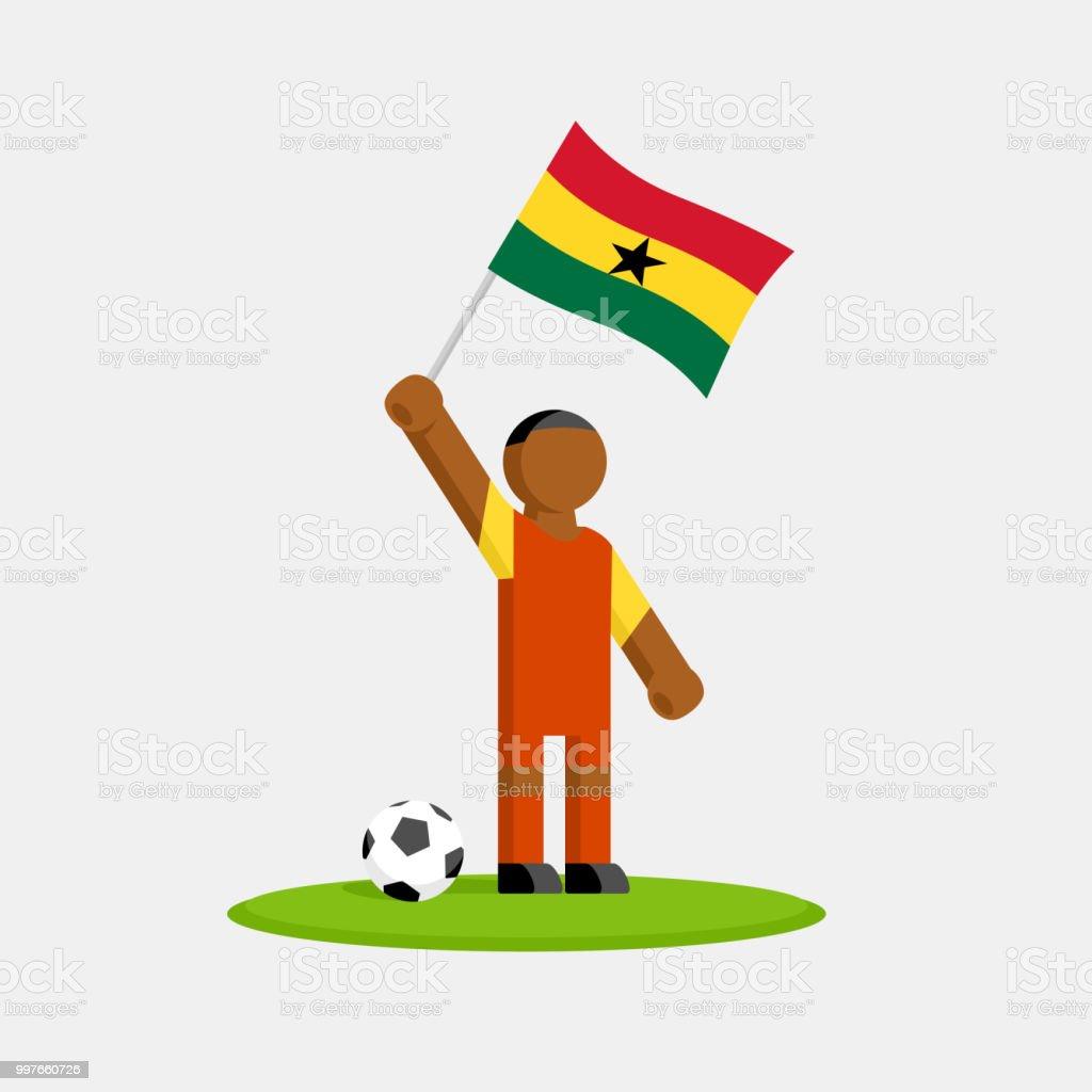 Jugador de fútbol de Ghana en kit con bandera y bola - ilustración de arte vectorial