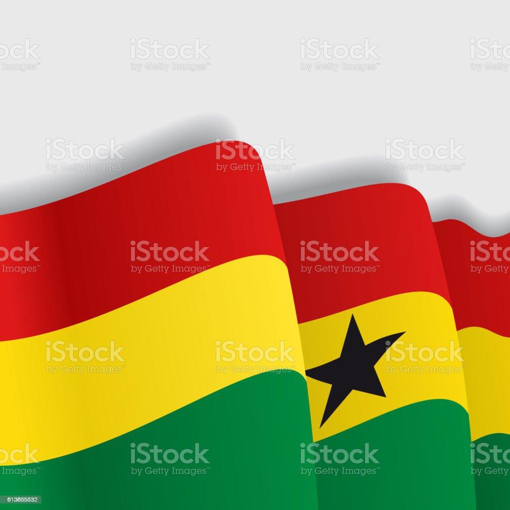 Ghana waving Flag. Vector illustration. - ilustración de arte vectorial