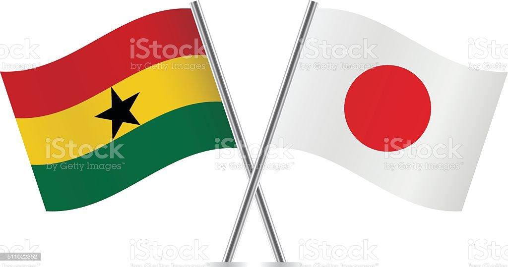 Ghanés y japoneses banderas. Vector de. - ilustración de arte vectorial