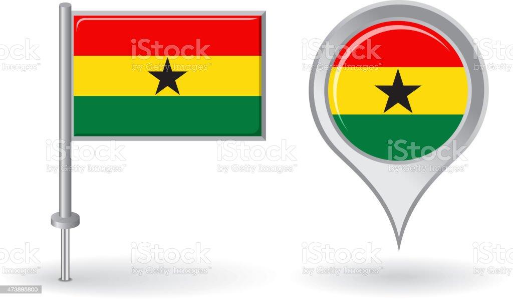 Ghanés icono de mapa de pin y puntero bandera.   Vector - ilustración de arte vectorial