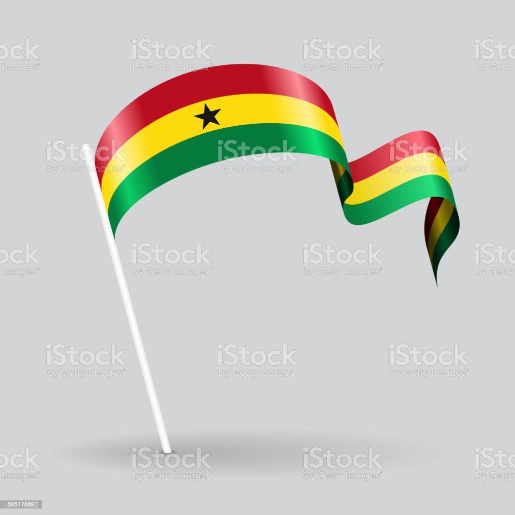 Ghanaian wavy flag. Vector illustration. - ilustración de arte vectorial