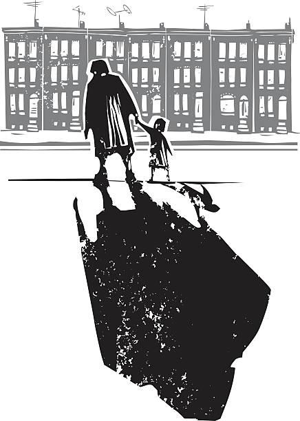 illustrazioni stock, clip art, cartoni animati e icone di tendenza di ghetto famiglia - nonna e nipote camminare