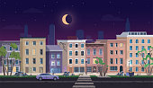 Ghetto landscape at night vector illustration, cartoon flat neighborhood cityscape with slum city street and dirty shanty houses, home for poor people, unfavorable abandoned residential area.
