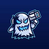 Ghost bazooka esport mascot logo design