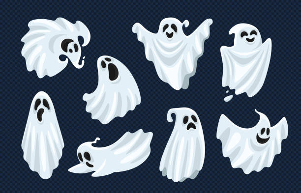 Ghost character. Halloween scary ghostly monster, dead boo spook and spooky fly anima isolated cartoon vector set Ghost character. Halloween scary ghostly monster, dead boo spook and cute funny boohoo spooky fly anima or horror curious devil phantom costume isolated cartoon vector icon set ghost icon stock illustrations