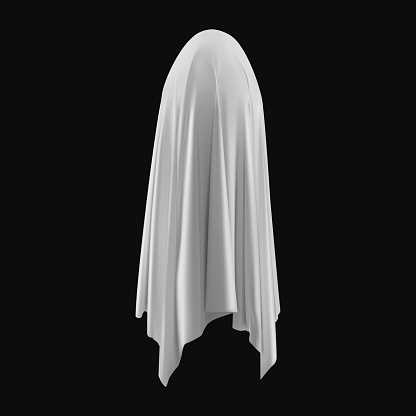 Ghost, evil spirit with a covered sheet.