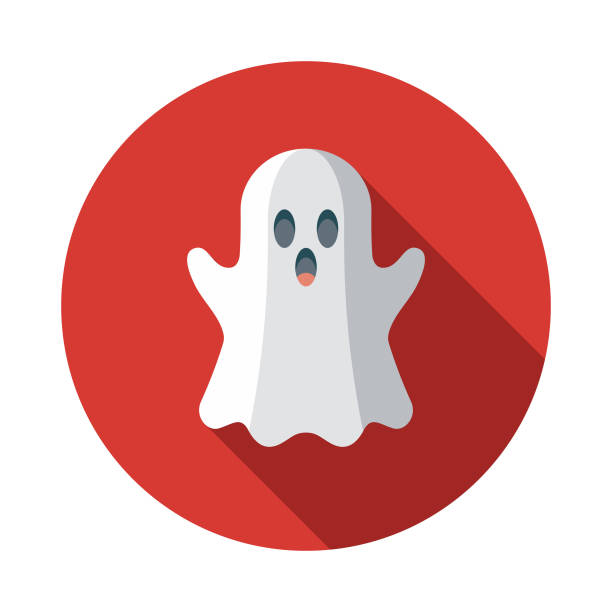 Ghost Flat Design April Fools Day Icon A flat design styled icon with a long side shadow. Color swatches are global so it's easy to edit and change the colors. ghost icon stock illustrations