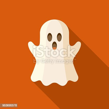 A colored flat design Halloween icon with a long side shadow. Color swatches are global so it's easy to edit and change the colors.
