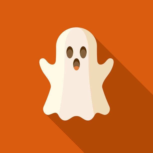 Ghost Flat Design Halloween Icon with Side Shadow A colored flat design Halloween icon with a long side shadow. Color swatches are global so it's easy to edit and change the colors. ghost icon stock illustrations