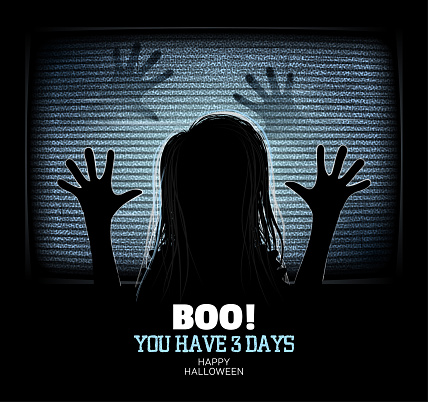 Ghost girl emerges through flickering television screen in haunted house. Happy Halloween Poster. Vector illustration.  Zombie coming out of TV