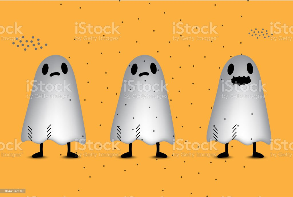 Ghost Halloween Party Invitation Template Backgrounds Stock Vector