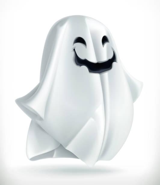 bildbanksillustrationer, clip art samt tecknat material och ikoner med ghost. happy halloween, 3d vektor symbol - spöke