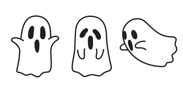 bildbanksillustrationer, clip art samt tecknat material och ikoner med ghost ikonen halloween doodle illustration - spöke