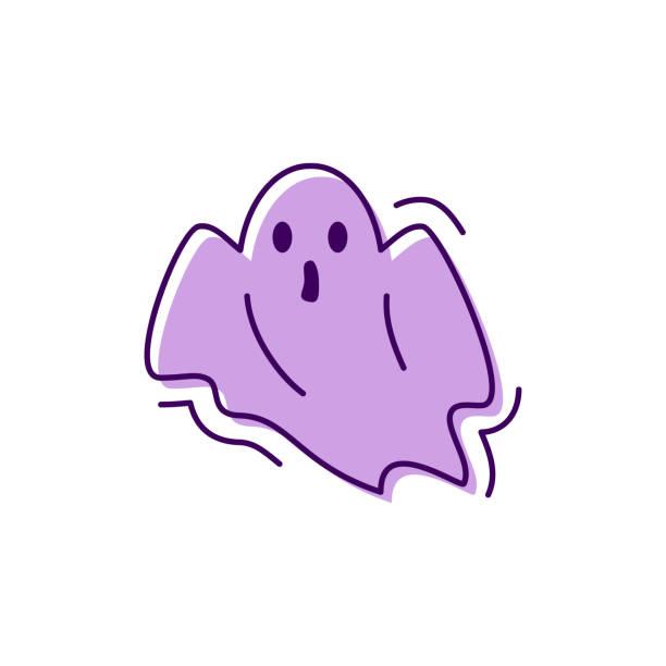 bildbanksillustrationer, clip art samt tecknat material och ikoner med ghost ikonen halloween. ansiktsuttryck skräck, spook, phantom tecken. tunn linje konstdesign, vektorillustration - spöke