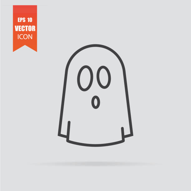 Ghost icon in flat style isolated on grey background. Ghost icon in flat style isolated on grey background. For your design, logo. Vector illustration. ghost icon stock illustrations