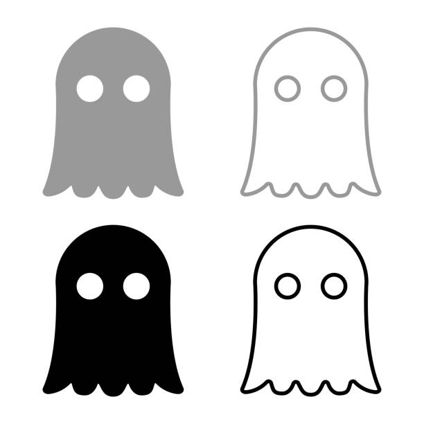 Ghost icon set grey black color Ghost icon set grey black color ghost icon stock illustrations
