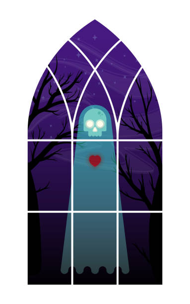 ghost in window illustration - phil spector stock illustrations