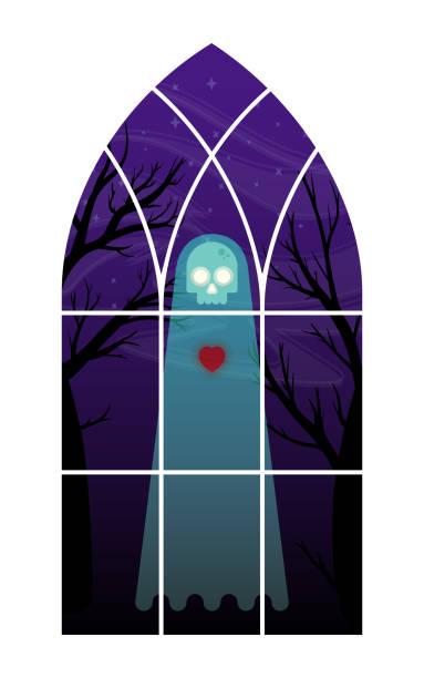 ilustraciones, imágenes clip art, dibujos animados e iconos de stock de fantasma en la ventana de ilustración - phil spector
