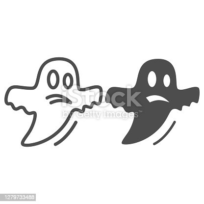 istock Ghost line and solid icon, Halloween concept, Halloween specter sign on white background, Flying Ghost icon in outline style for mobile concept and web design. Vector graphics. 1279733488