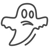Ghost line icon, Halloween concept, Halloween specter sign on white background, Flying Ghost icon in outline style for mobile concept and web design. Vector graphics