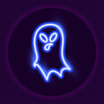 Ghost neon icon. Halloween neon sign. Holiday concept. Vector illustration.