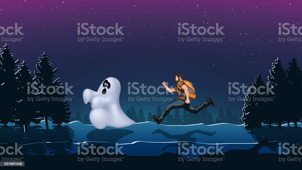 ghost night 01 vector art illustration