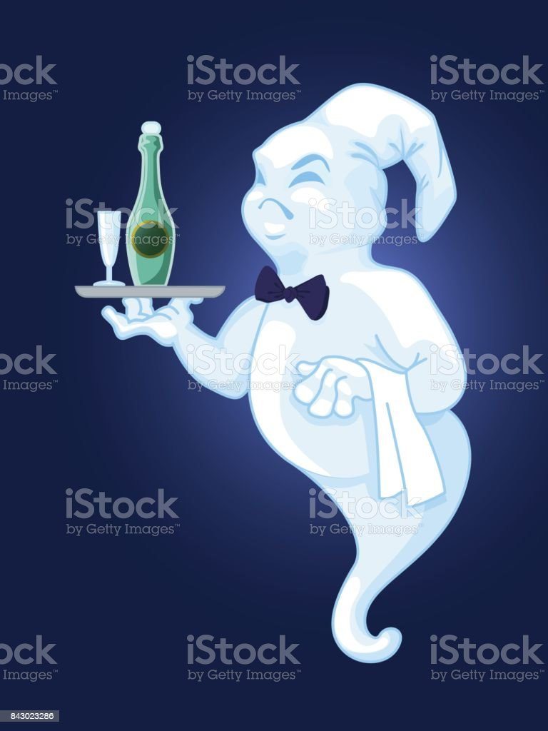 Ghost of a waiter with a tray with a bottle of wine and a glass. Vector vector art illustration