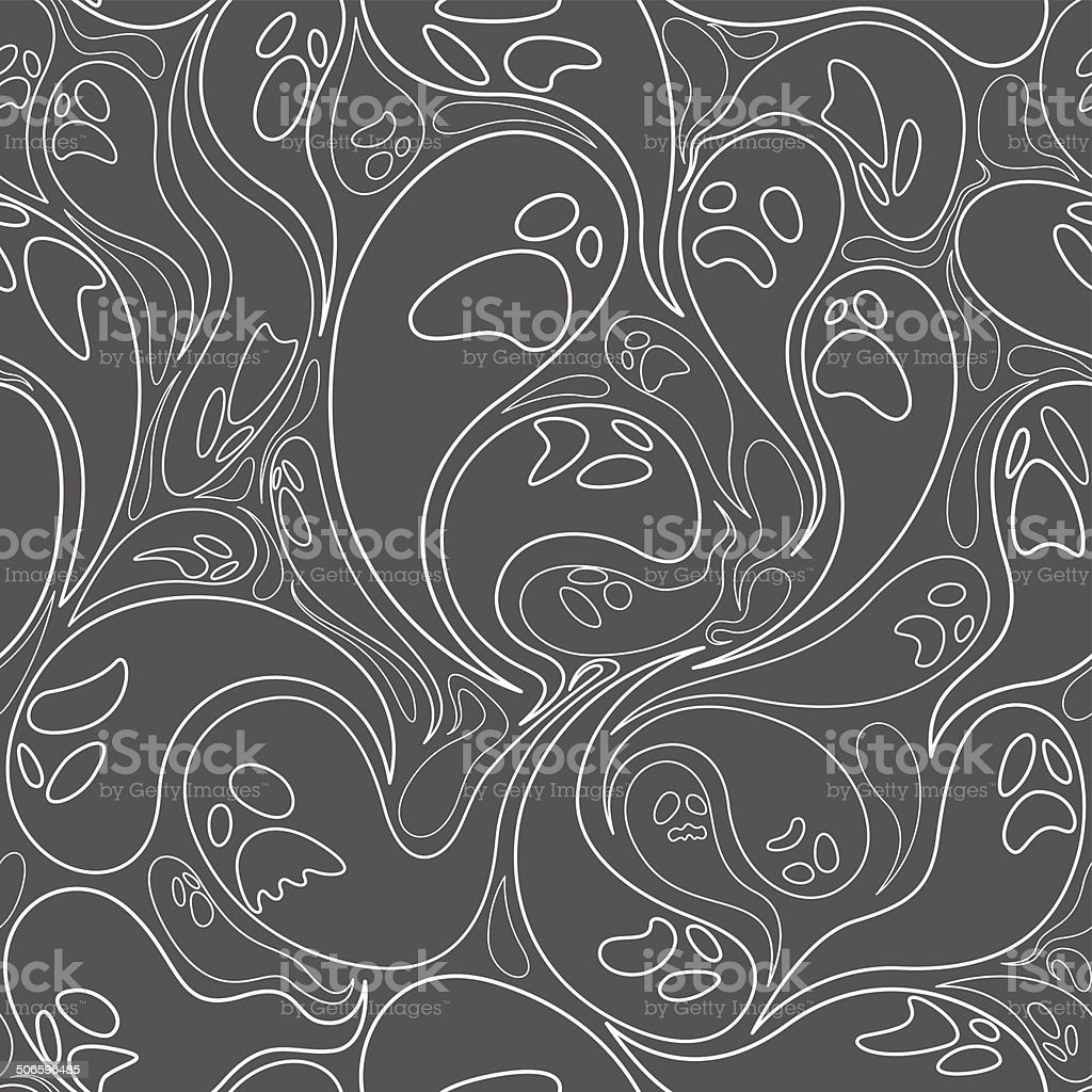 Ghost seamless pattern with line design royalty-free stock vector art