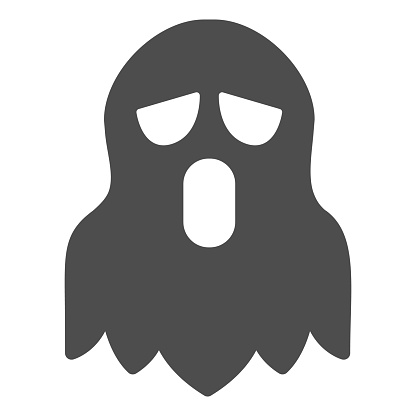 Ghost solid icon, halloween concept, spirit sign on white background, spooky costume for halloween icon in glyph style for mobile concept and web design. Vector graphics.