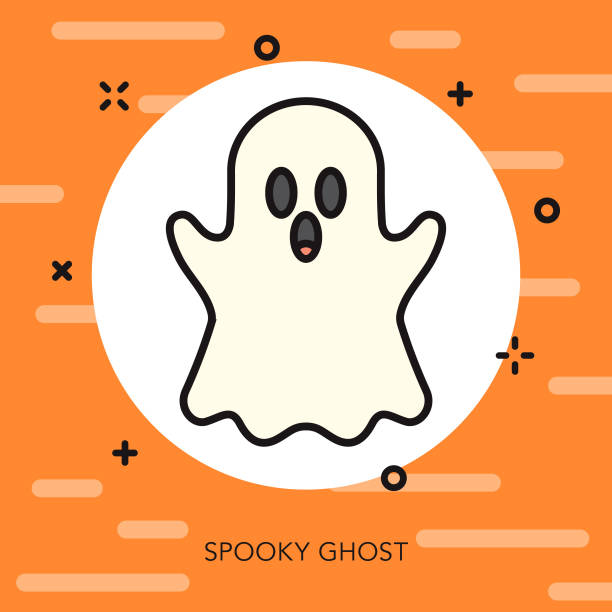 Ghost Thin Line Halloween Icon A flat design/thin line icon on a colored background. Color swatches are global so it's easy to edit and change the colors. File is built in CMYK for optimal printing and the background is on a separate layer. ghost icon stock illustrations
