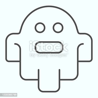 istock Ghost thin line icon. Scary night horror monster, spirit of dead soul. Halloween vector design concept, outline style pictogram on white background, use for web and app. Eps 10. 1205385799