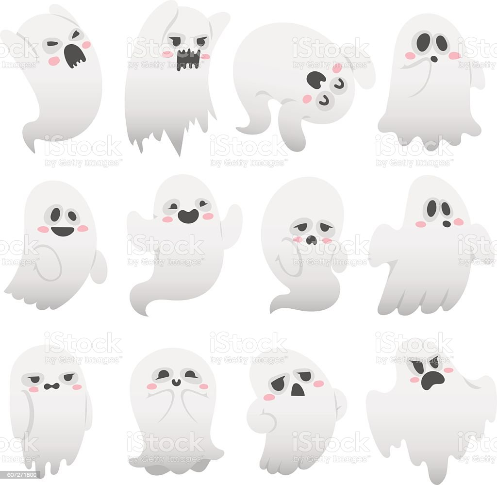 Ghost Vector Characters Isolated Stock Illustration - Download Image Now