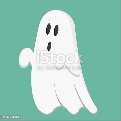 A cute ghost that flies above the ground for Halloween