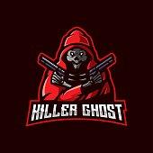 Killer Ghost e-Sport Mascot Design Illustration Vector. Ghost carrying a gun