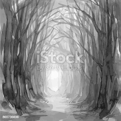 istock Ghostly forest trail, watercolor illustration. 865736636