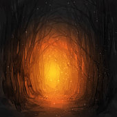istock Ghostly forest trail, watercolor illustration. 865737652