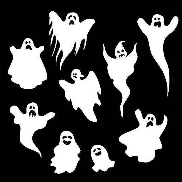 bildbanksillustrationer, clip art samt tecknat material och ikoner med spöken tecknad stil vektor samling - spöke