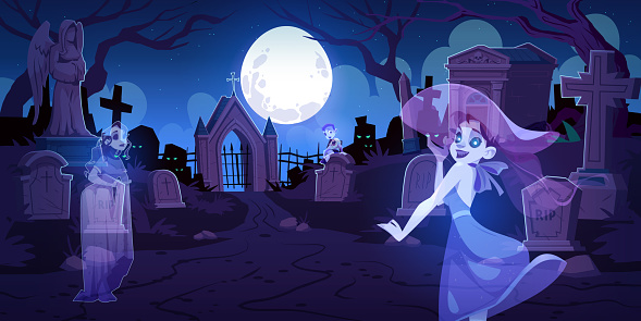 Ghosts on old cemetery with graves at night