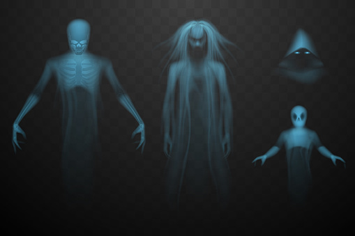 Ghosts set on rtansparent background